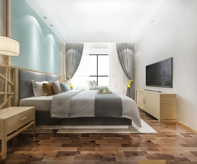 Suite de chambre à coucher minimale vintage verte de rendu 3d dans l'hôtel avec tv