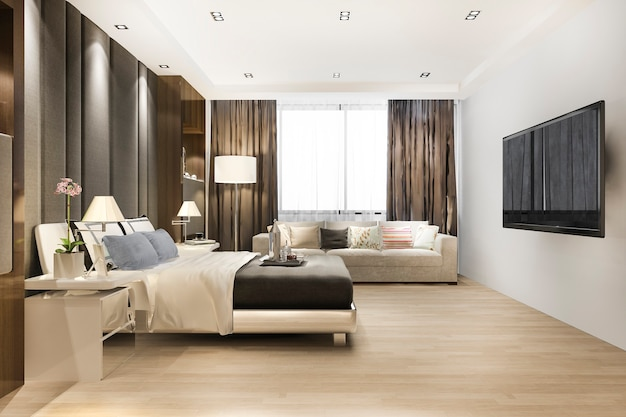 Suite de chambre à coucher moderne classique de luxe dans l'hôtel