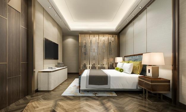 Suite de chambre à coucher moderne dans l'hôtel avec armoire et dressing avec décor de style chinois