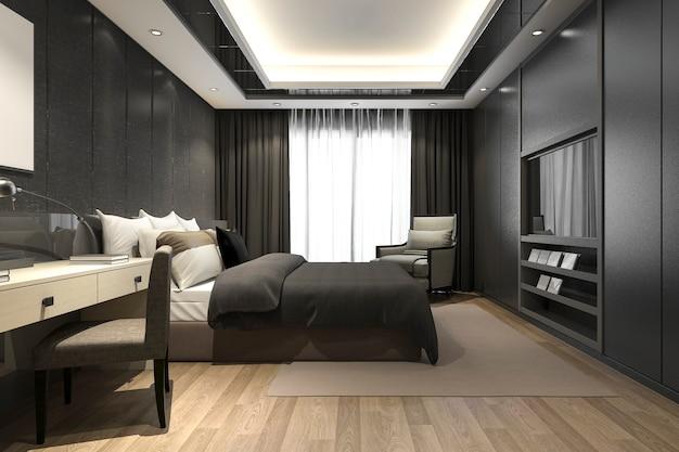 Suite de chambre à coucher moderne de luxe noir de rendu 3d dans l'hôtel et le complexe