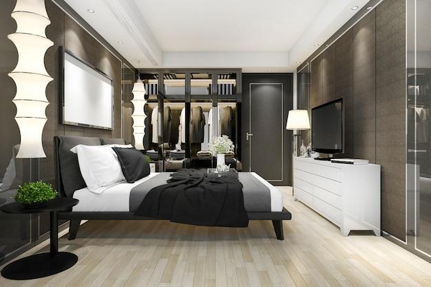Suite de chambre à coucher moderne de luxe en rendu 3d avec armoire et dressing