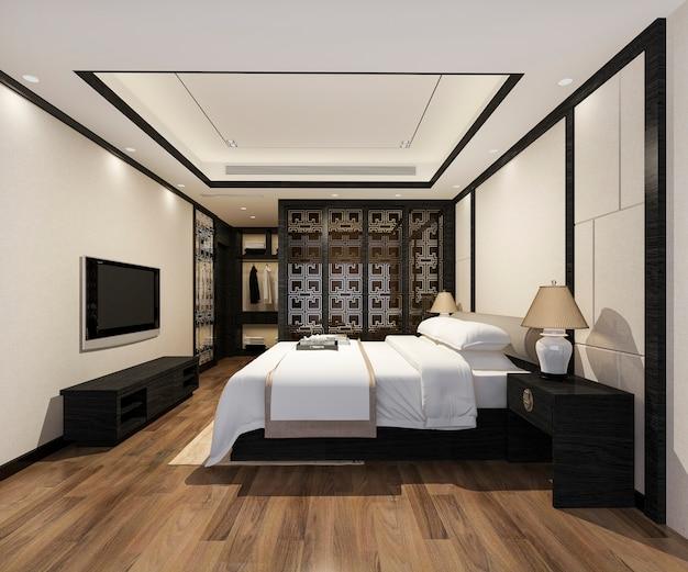Suite de chambre à coucher moderne de luxe en rendu 3d dans l'hôtel avec armoire et dressing avec décor de style chinois