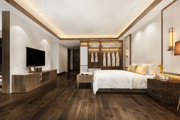 Suite de chambre à coucher moderne de luxe de rendu 3d dans l'hôtel avec garde-robe et dressing