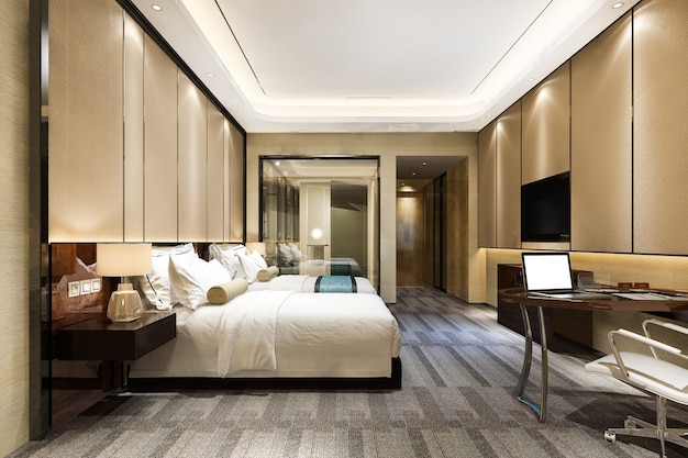 Suite de chambre de luxe en rendu 3d dans un hôtel de villégiature avec lit double et salle de bain