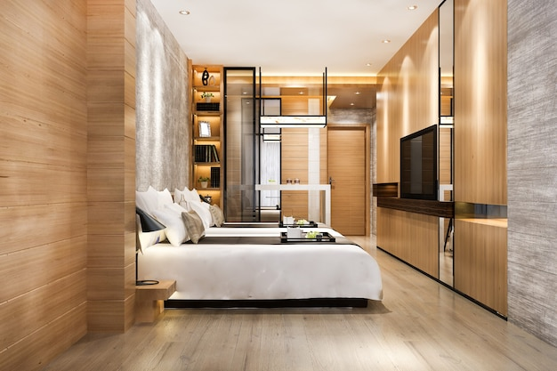 Suite de chambre de luxe de rendu 3d dans un hôtel de villégiature avec lit jumeau