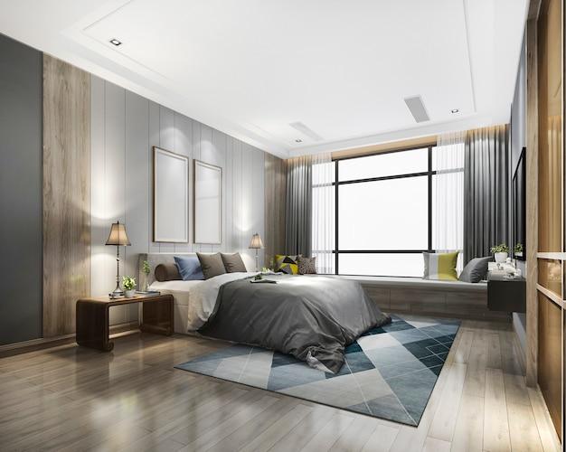Suite de chambre moderne de luxe en rendu 3d à l'hôtel avec armoire