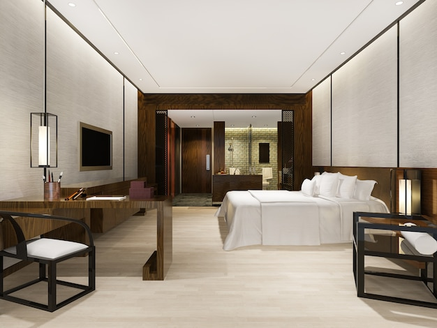 Suite de luxe moderne dans un hôtel avec une décoration de style asiatique
