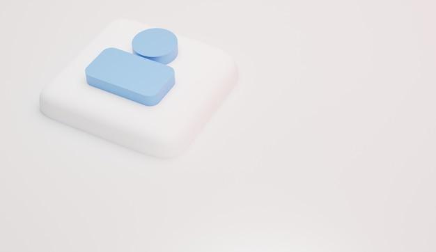Suivez les icônes et le rendu 3d minimal du logo