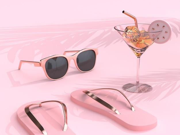 Summer concept abstrait scène rose pantoufles lunettes de soleil boire du verre rendu 3d