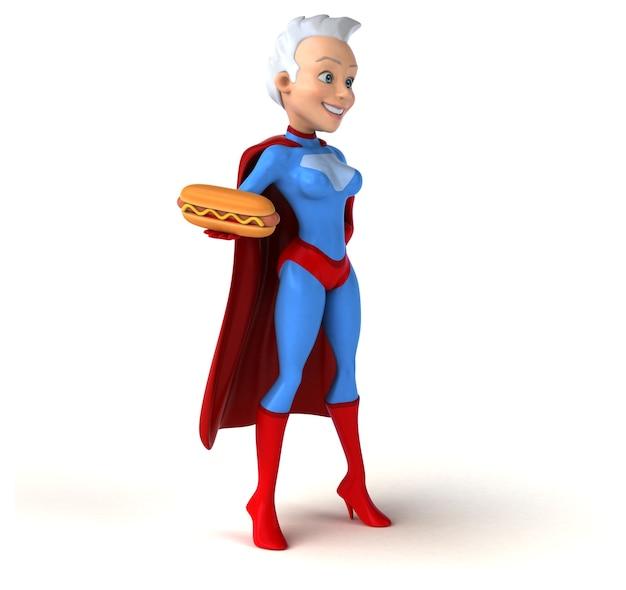 Super femme tenant un hot-dog