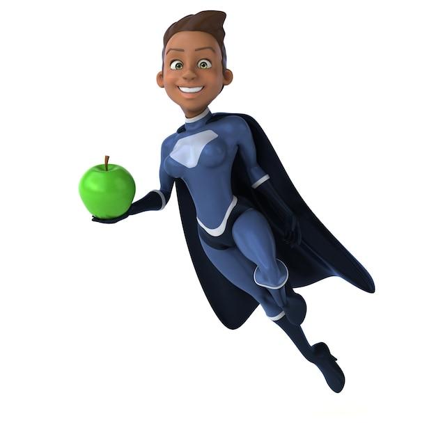 Super femme tenant une pomme verte