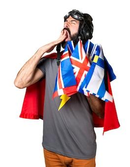 Super-héros avec beaucoup de drapeaux bâillons