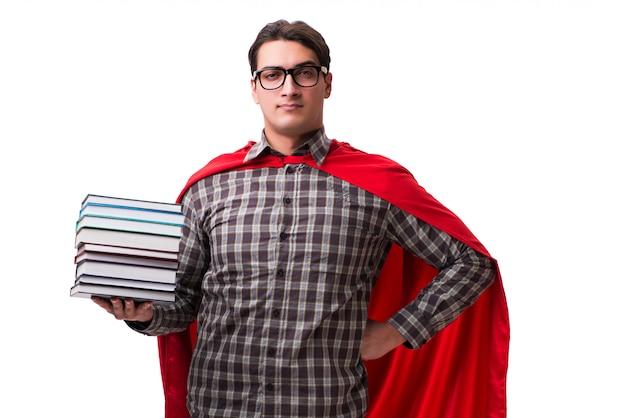 Super héros étudiant avec des livres isolés sur blanc