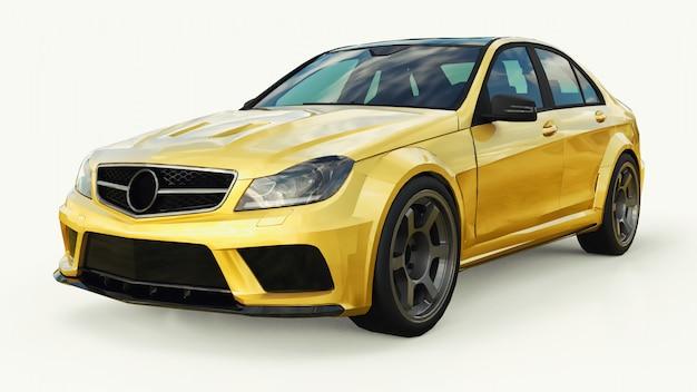 Super rapide voiture de sport couleur or métallique sur blanc