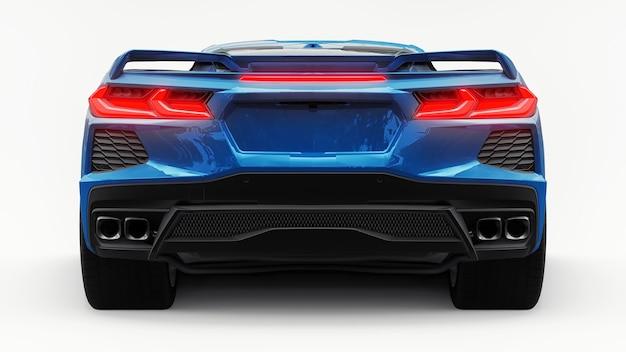 Super voiture de sport ultra-moderne avec une disposition à moteur central sur un fond blanc isolé. une voiture de course sur piste et en ligne droite. illustration 3d