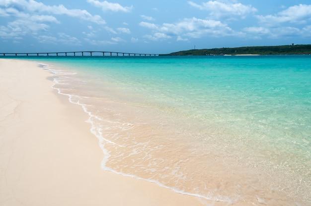 Superbe mer vert émeraude cristalline, plage de sable blanc