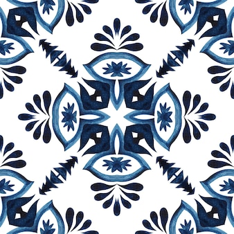 Superbe motif aquarelle floral bleu transparent carreaux oriental ornement turc. conception de carreaux de céramique de style portugais