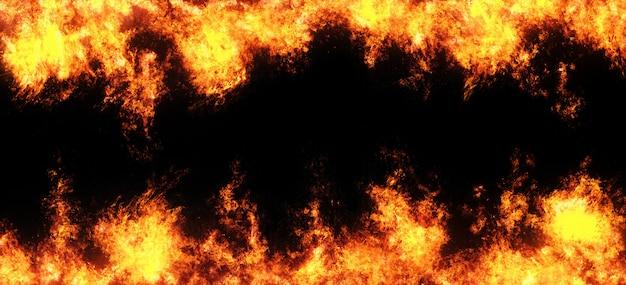 Superposition abstraite de flammes de feu sur un fond noir.