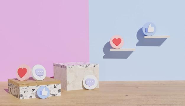 Support en bois et en céramique vide avec le symbole comme et le coeur rendu 3d cyber lundi
