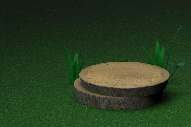 Support en bois naturel de rendu 3d