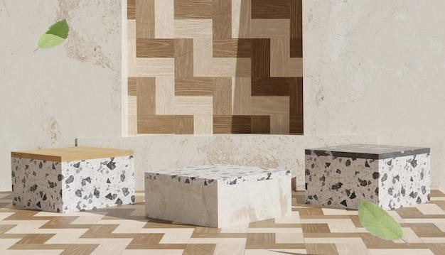 Support en bois vide et terrazzo avec rendu 3d et feuilles tombantes photo premium