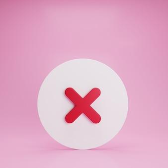 Support de bouton d'annulation de fermeture en croix 3d sur le sol