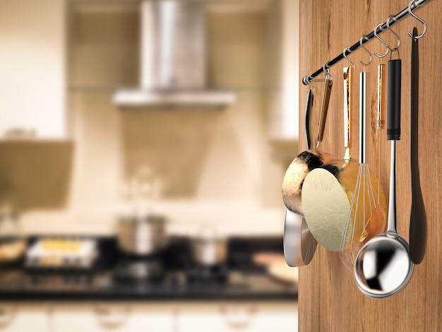 Support de cuisine de rendu 3d suspendu avec fond de cuisine