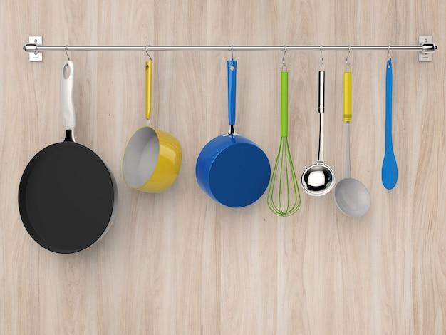 Support de cuisine de rendu 3d suspendu avec des ustensiles de cuisine