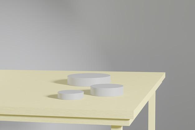 Support de cylindre gris ou piédestal pour produits sur table en bois jaune. rendu 3d dans un style minimal.