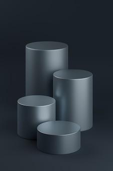 Support de cylindre ou piédestal bleu foncé pour les produits. rendu 3d dans un style minimal.