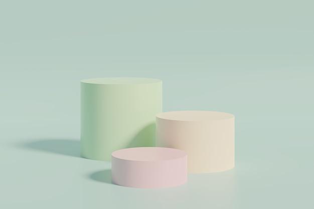 Support de cylindre ou piédestal pastel coloré pour les produits. rendu 3d dans un style minimal.