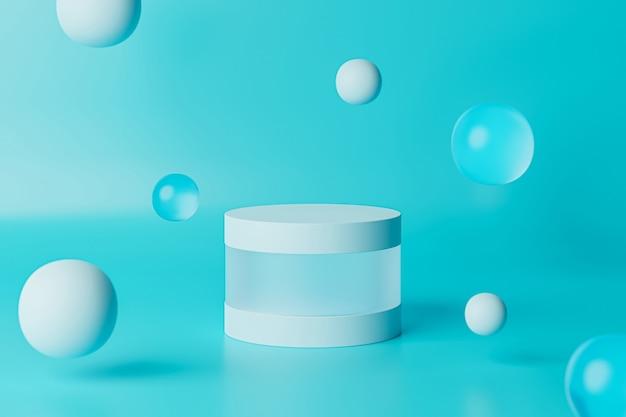 Support cylindrique ou piédestal bleu pour produits avec sphères en verre. rendu 3d dans un style minimal.