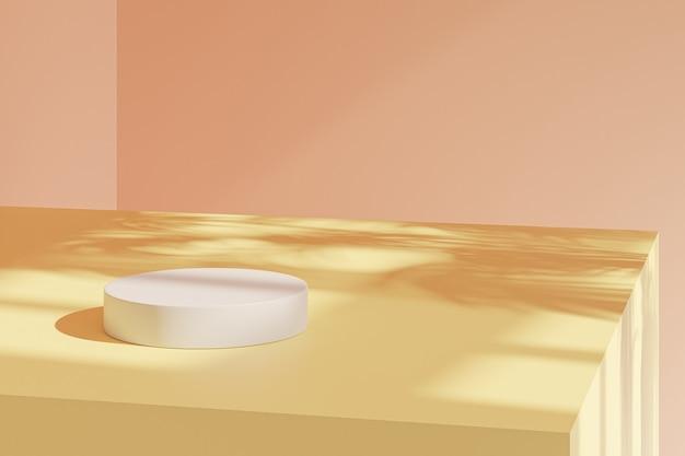 Support cylindrique ou piédestal pastel beige pour les produits à l'ombre des feuilles tropicales. rendu 3d dans un style minimal.