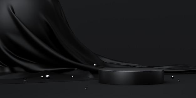 Support de fond de produit noir ou socle de podium sur un écran publicitaire de luxe avec des toiles de fond vierges. rendu 3d.