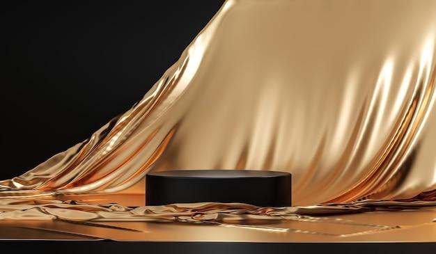 Support de fond de produit or ou socle de podium sur un affichage publicitaire de luxe avec des toiles de fond vierges.