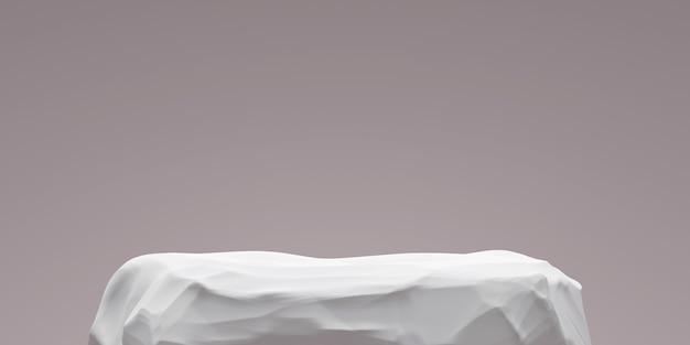 Support de fond de produit en pierre blanche ou piédestal de podium rock sur un affichage promotionnel avec des toiles de fond vierges. .