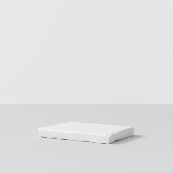 Support de fond de produit en pierre blanche ou socle de podium sur l'affichage de la salle de publicité avec des toiles de fond vierges. rendu 3d.