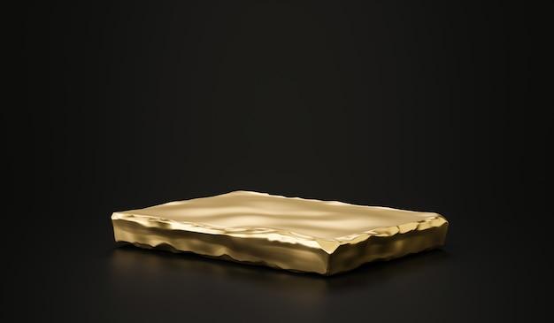 Support de fond de produit de plaque de pierre dorée ou socle de podium sur l'affichage de la salle de publicité avec des toiles de fond vierges. rendu 3d.