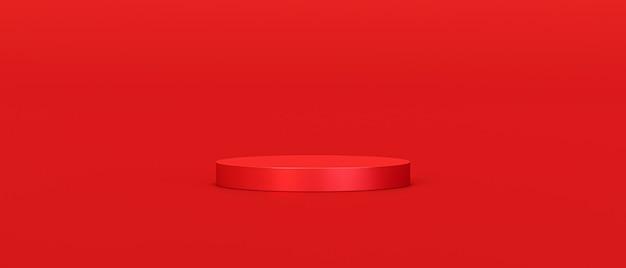 Support de fond de produit rouge ou piédestal de podium sur un écran vide avec des toiles de fond vierges.