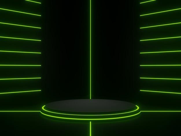 Support géométrique noir rendu 3d avec néon vert. fond sombre