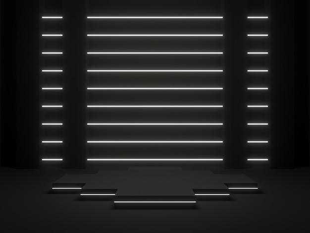 Support géométrique noir rendu 3d avec néons blancs