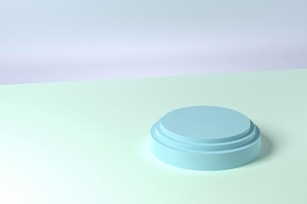 Support ou piédestal en forme de cylindre bleu pour les produits. rendu 3d