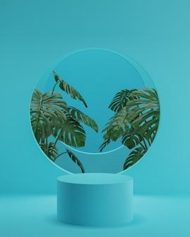 Support podium bleu avec feuilles de monstera