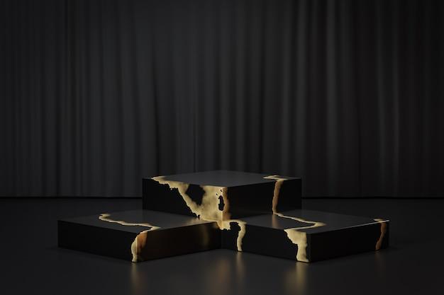 Support de produit d'affichage cosmétique, podium de bloc d'or noir de trois marbres sur le fond noir. illustration de rendu 3d