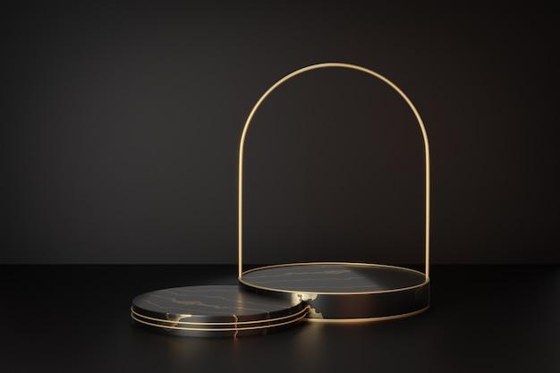 Support de produit d'affichage cosmétique, podium de cylindre d'or noir de marbre avec l'arc en métal sur le fond noir. illustration de rendu 3d