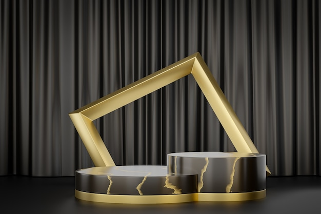 Support de produit d'affichage cosmétique, podium de cylindre d'or noir de marbre avec le cadre d'or sur le fond noir. illustration de rendu 3d