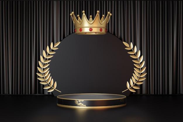 Support de produit d'affichage cosmétique, podium de cylindre d'or noir de marbre avec la couronne d'or sur le fond noir. illustration de rendu 3d