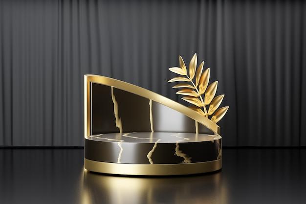 Support de produit d'affichage cosmétique, podium de cylindre d'or noir de marbre avec la feuille d'or sur le fond noir. illustration de rendu 3d