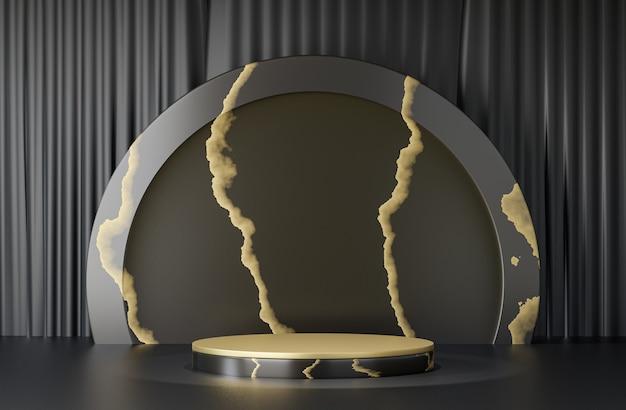 Support de produit d'affichage cosmétique, podium de cylindre d'or noir de marbre avec le mur noir de cercle sur le fond noir. illustration de rendu 3d