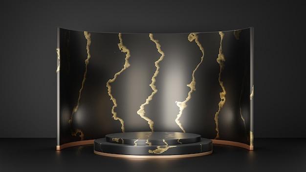 Support de produit d'affichage cosmétique, podium de cylindre d'or noir de marbre avec le mur noir sur le fond noir. illustration de rendu 3d